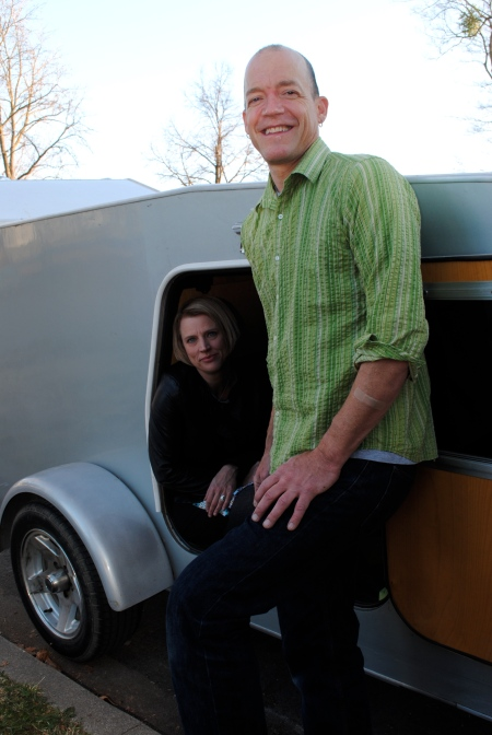 Jenny Stark (left) and Rik Keller use their custom-made camper to take their Teeny-Cine mobile film theater on the road. Photo: Lovelle Harris
