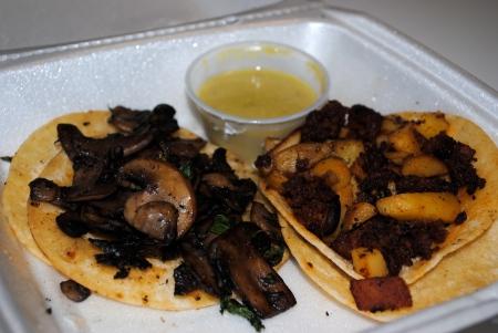 Mushroom taco, chorizo taco Photo by Lovelle Harris